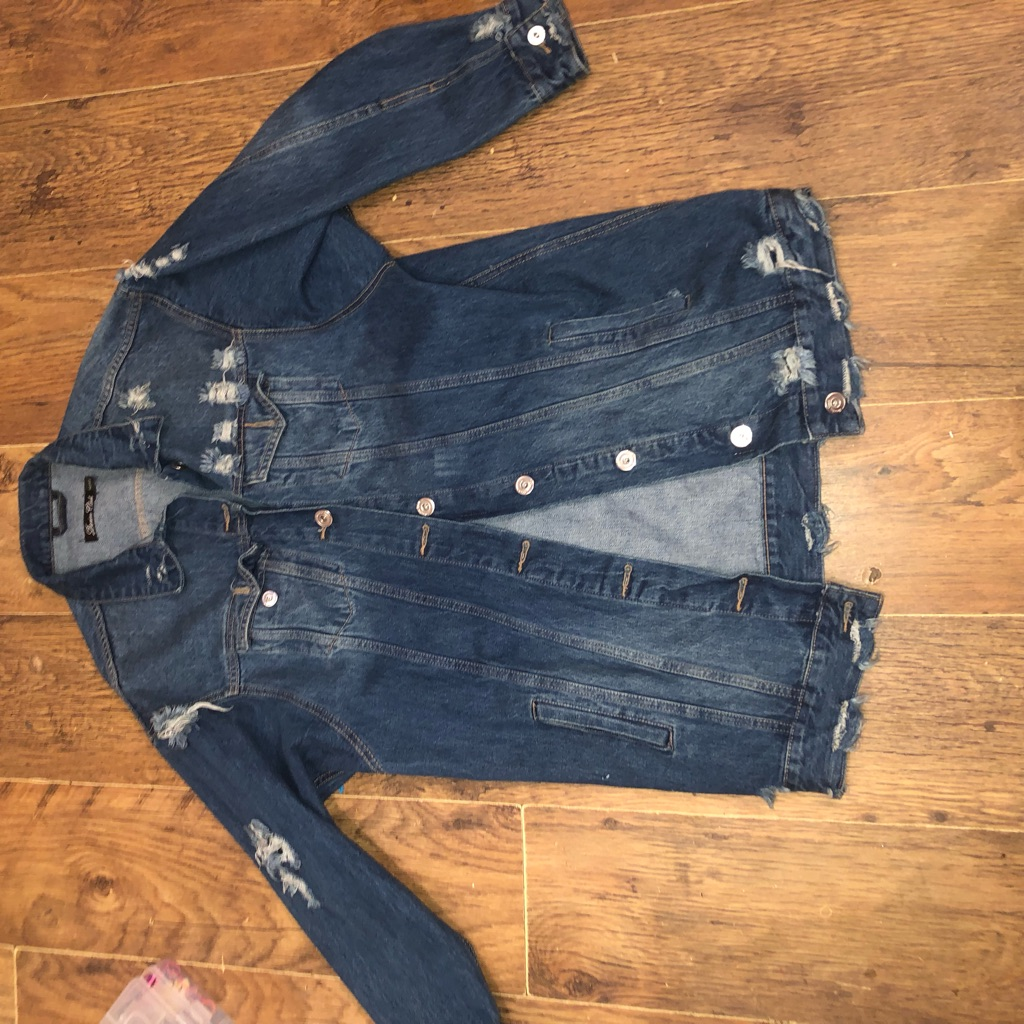 Denim ripped long line jacket size 14