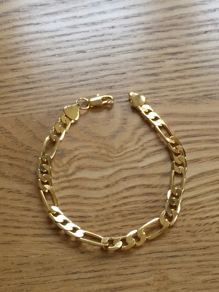 Ladies and gents 18k yellow gold plated solid chain bracelet