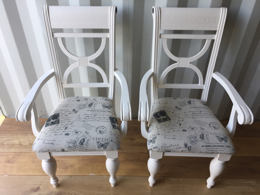 2 x Shabby Chic carver chairs