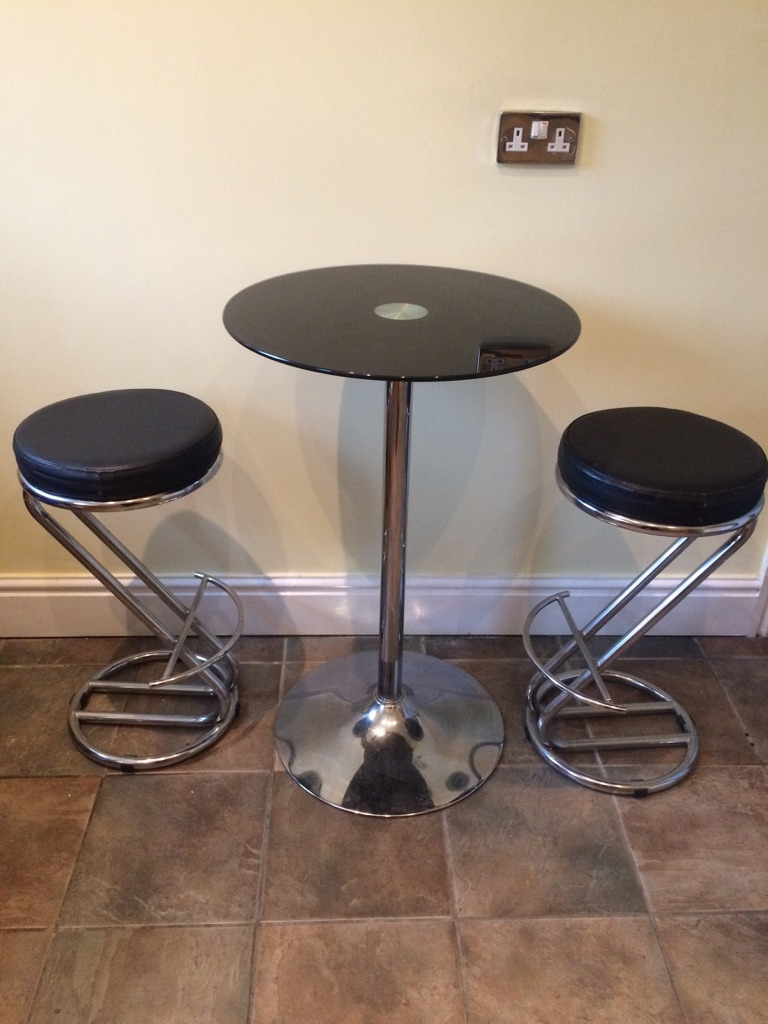 Glass/Chrome High Table with Two Black Leather/Chrome Stools