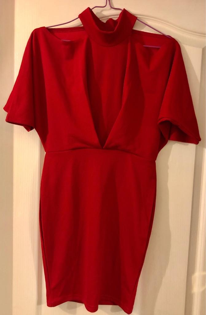 LADIES RED BOOHOO DRESS