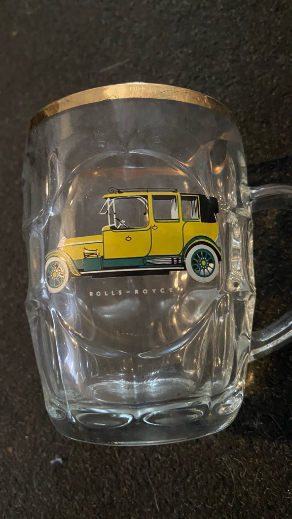 vintage mid century glass pint dimple tankard with car rolls royce