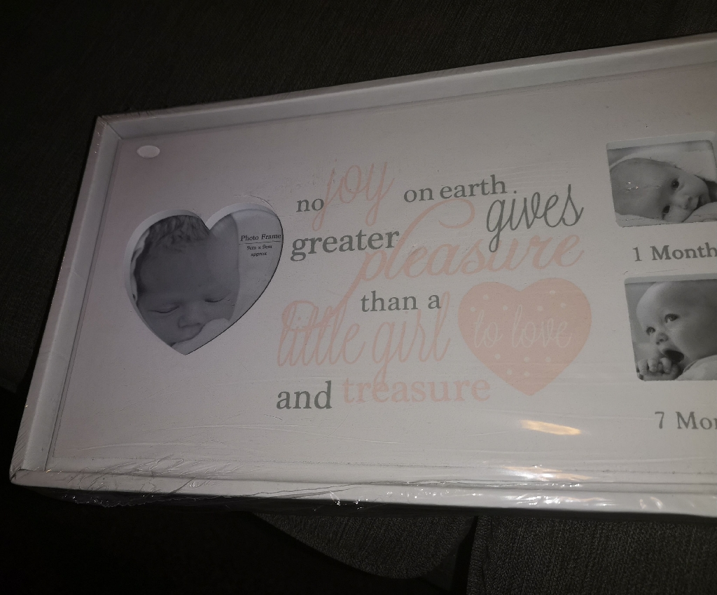 Baby girl 12 month memory photo frame