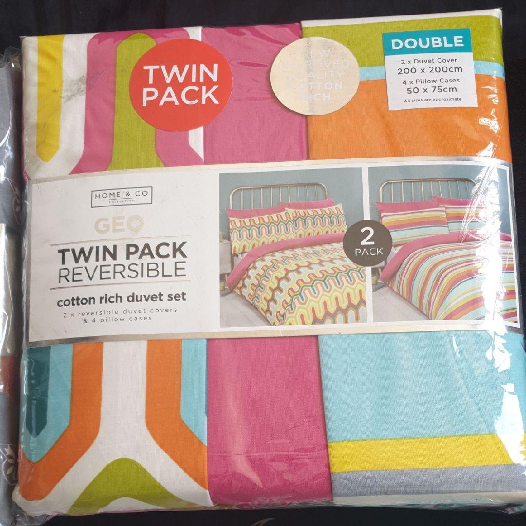 Twin Pack Double Duvet Set