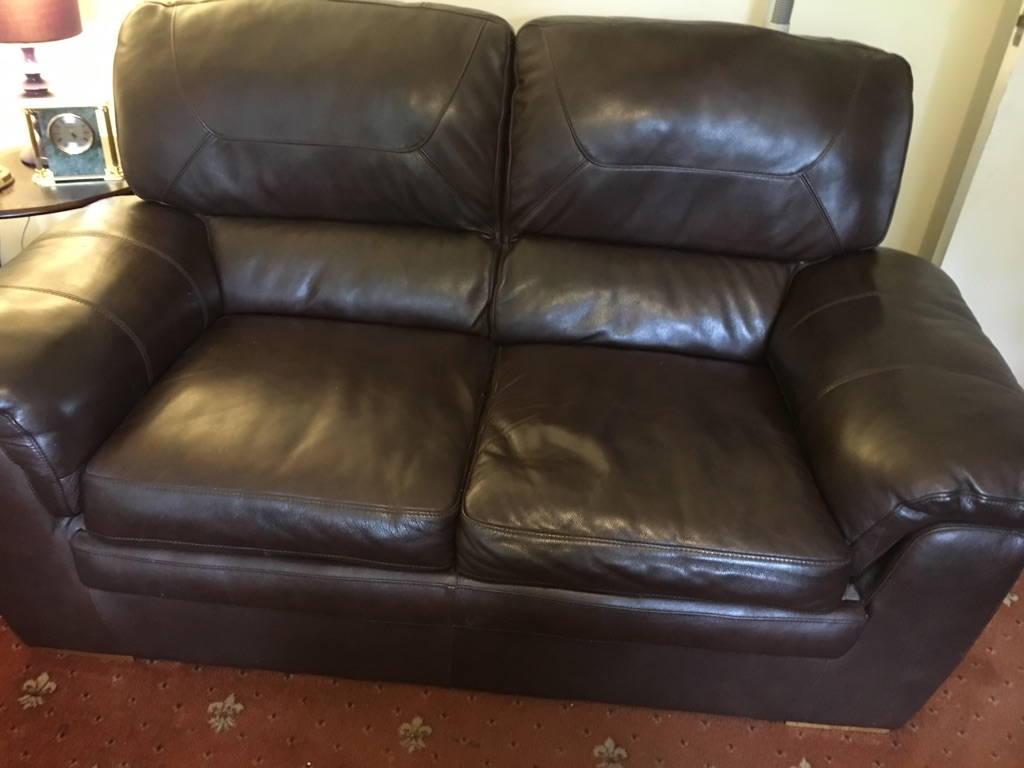 Two Seater Brown Leather