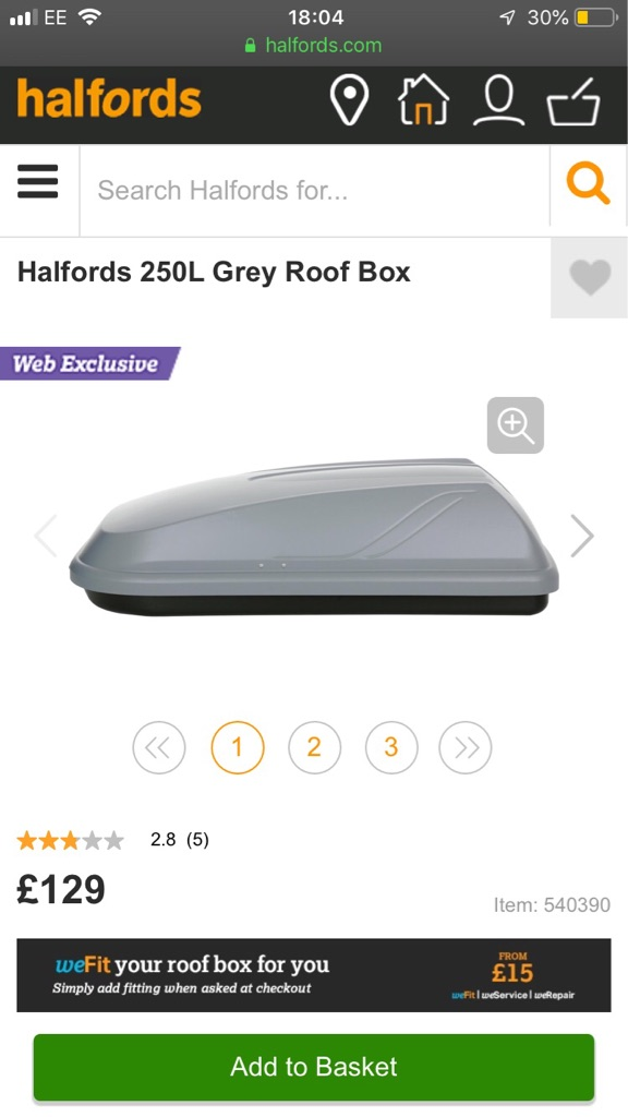 Halfords roof box and brackets