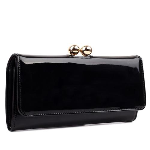 Patent leather look ball clasp purse