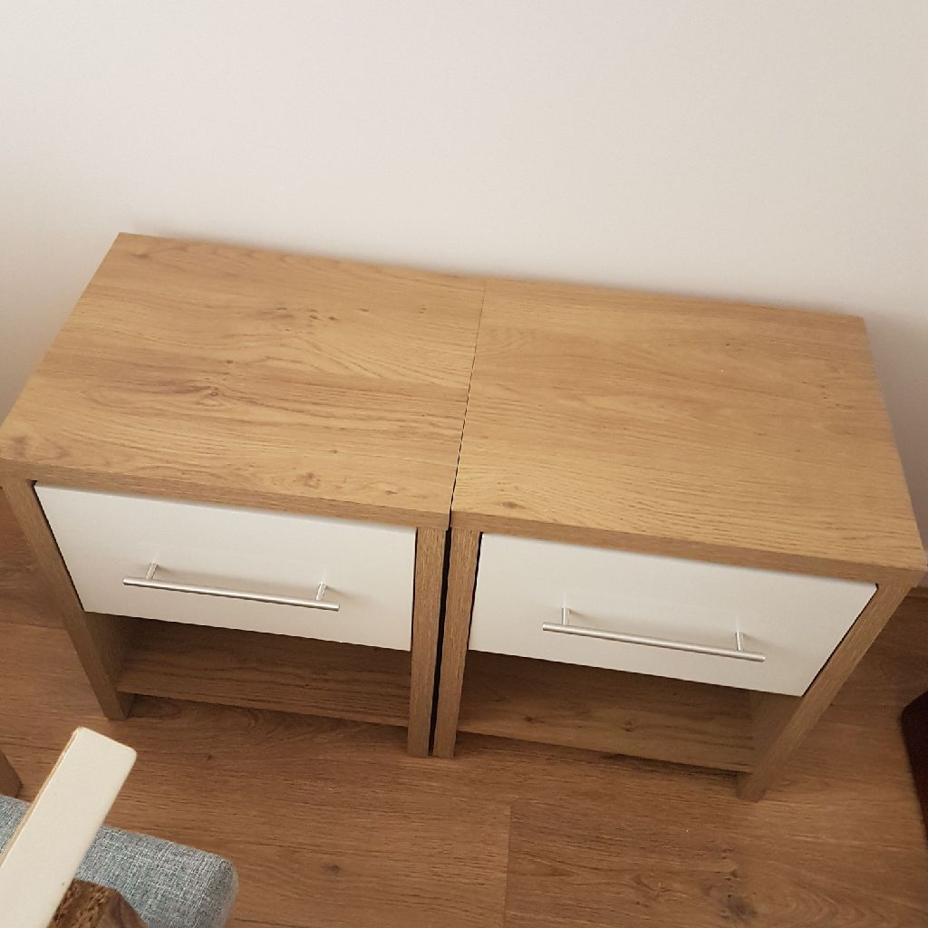 Oak and white bedside cabinets