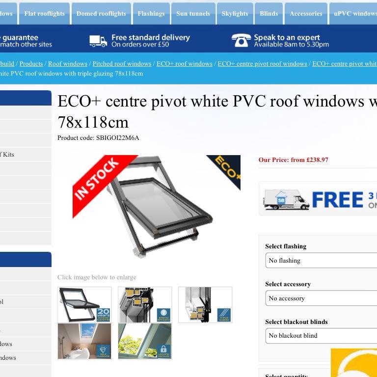 NEW 2 ECO pivot white PVC roof windows