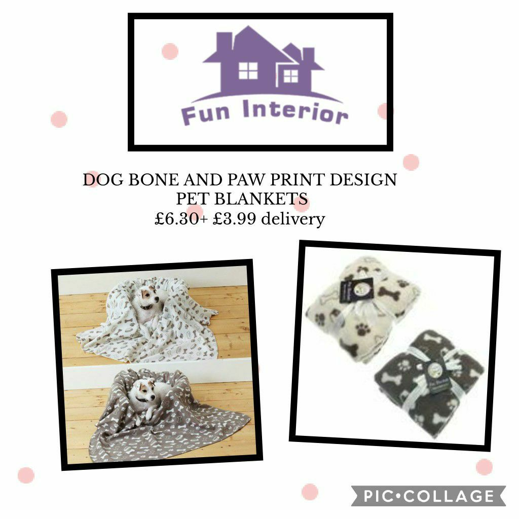 DOG BONE AND PAW PRINT DESIGN PET BLANKETS🐾🦴
