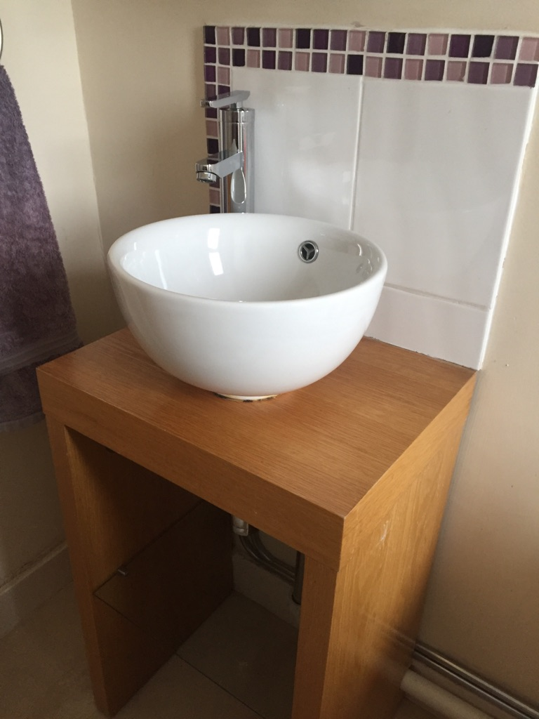 Bathroom sink and vanity with mirrored cabinet