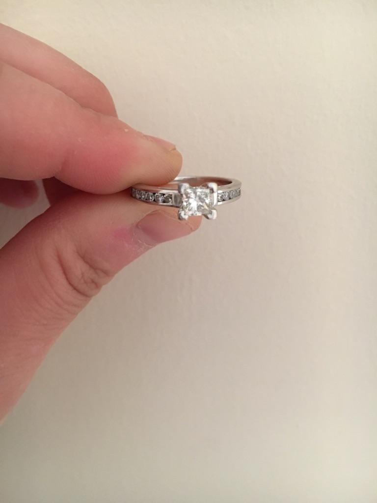 0.85 carat Princess Cut Diamond Engagement Ring