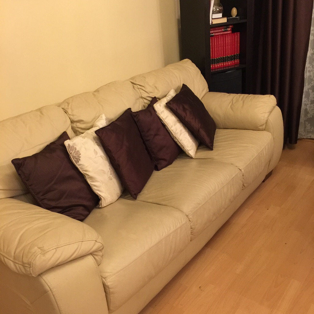 Cream Colour 3 Piece Real Leather Sofa