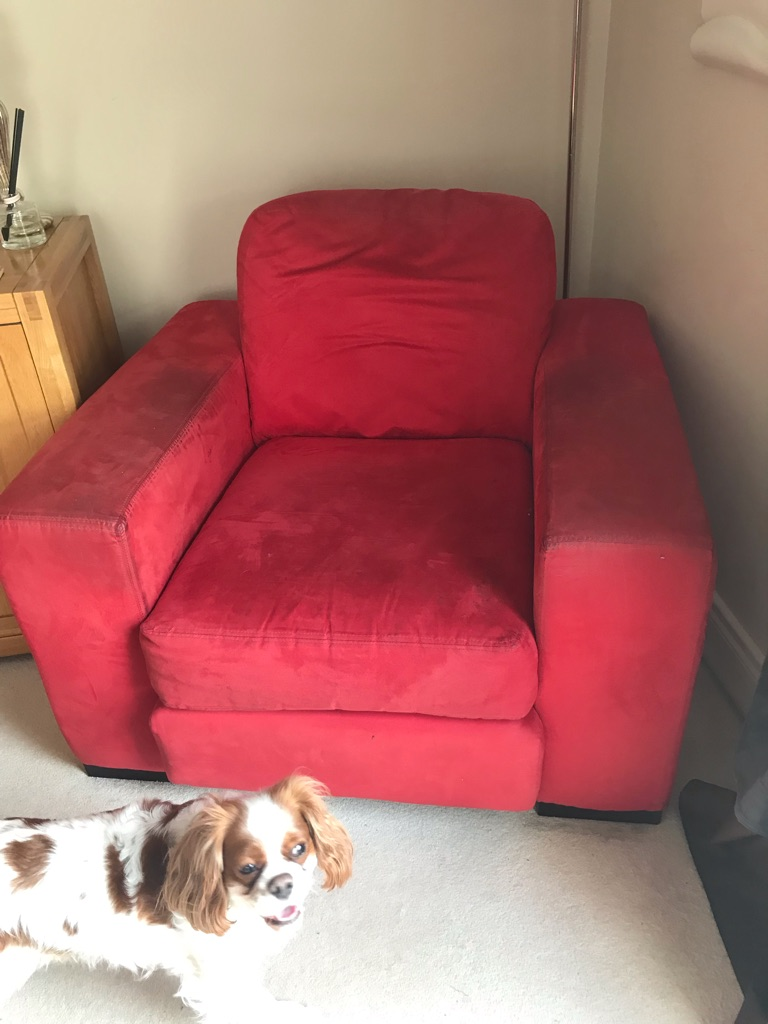 Red sofa & chair