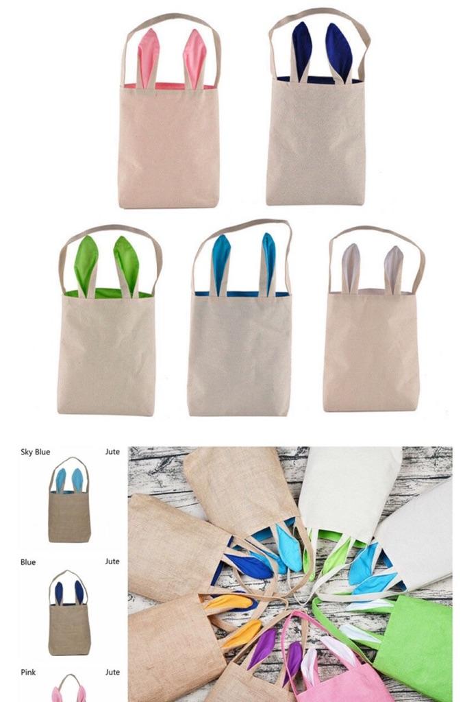 Easter Bunny Ear Jute Bags - Sky blue & Green