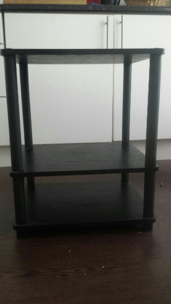 Multi - purpose shelving unit black wood and plastic