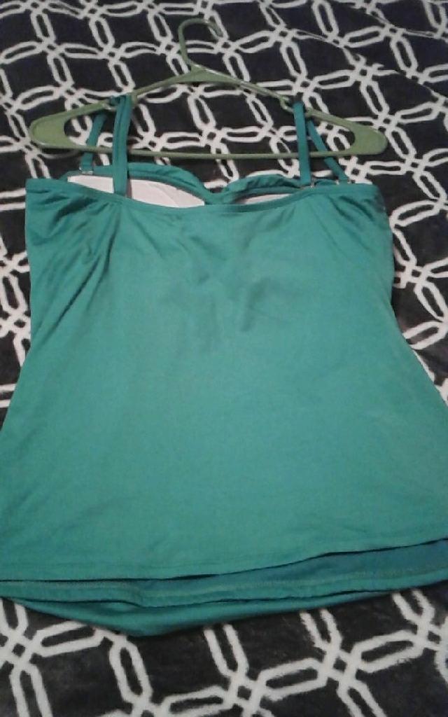 Green/blue swim top