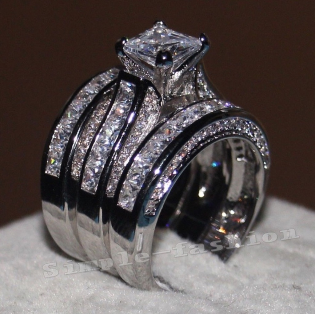 925 Sterling Silver stamp, cz diamond triple rings size 6-10