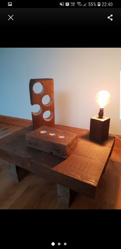 Hand crafted lamp and wine rack