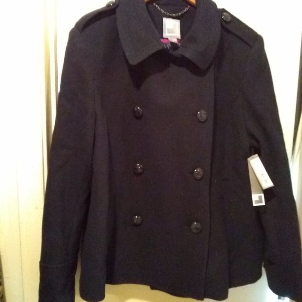 Wool Blend Navy Pea Coat