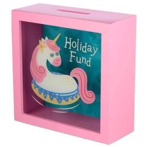 See your savings money box- vacation vibes unicorn
