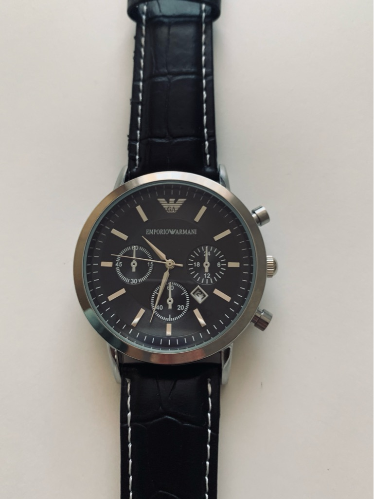 Emporio Armani Mens Silver/ Black Watch With Black Leather Strap