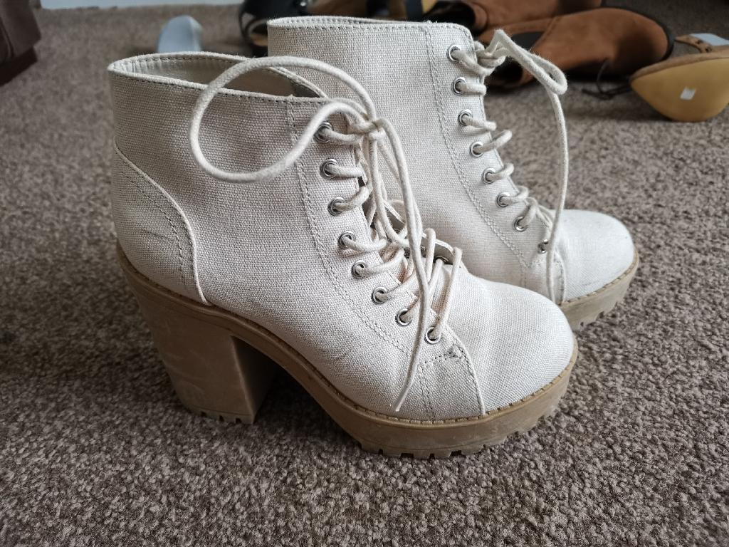 Cream chunky boots