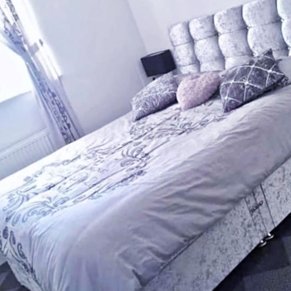 NEW Crushed Velvet Bed with Headboard and Mattress with FREE DELIVERY