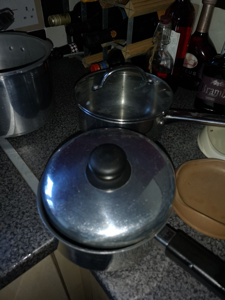 Various pans ..including pressure cooker