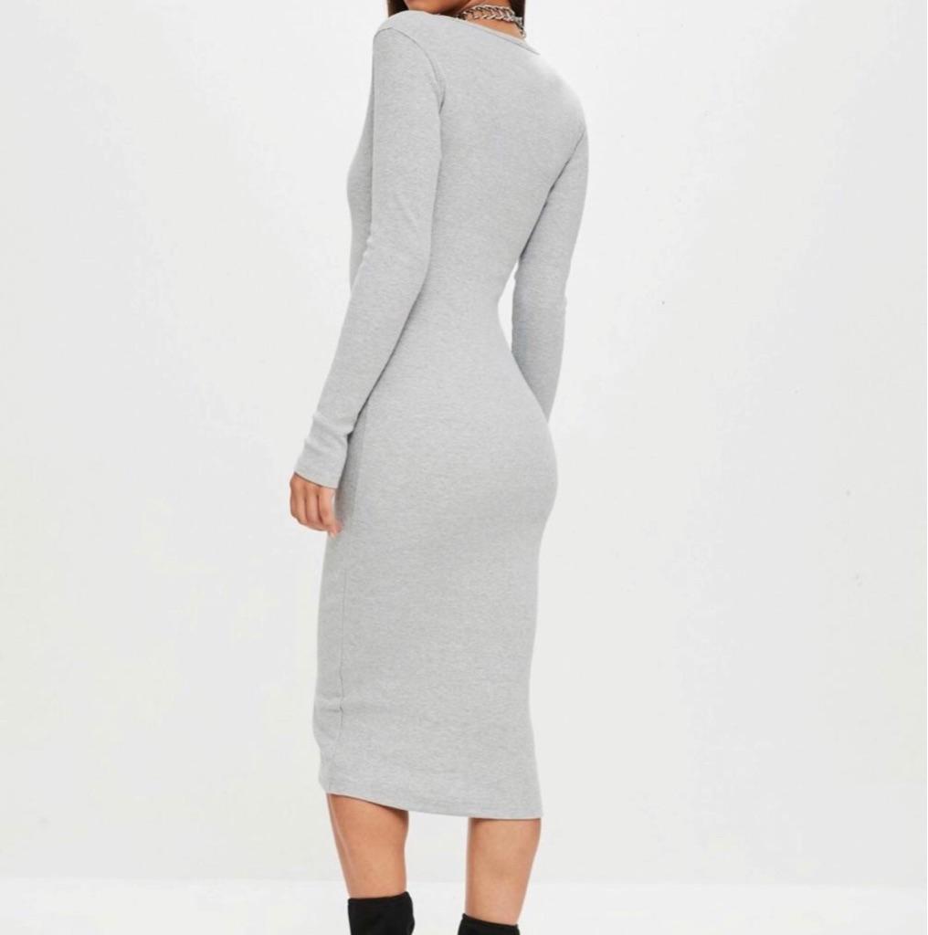 Missguided Popper Midi Dress (UK 8)