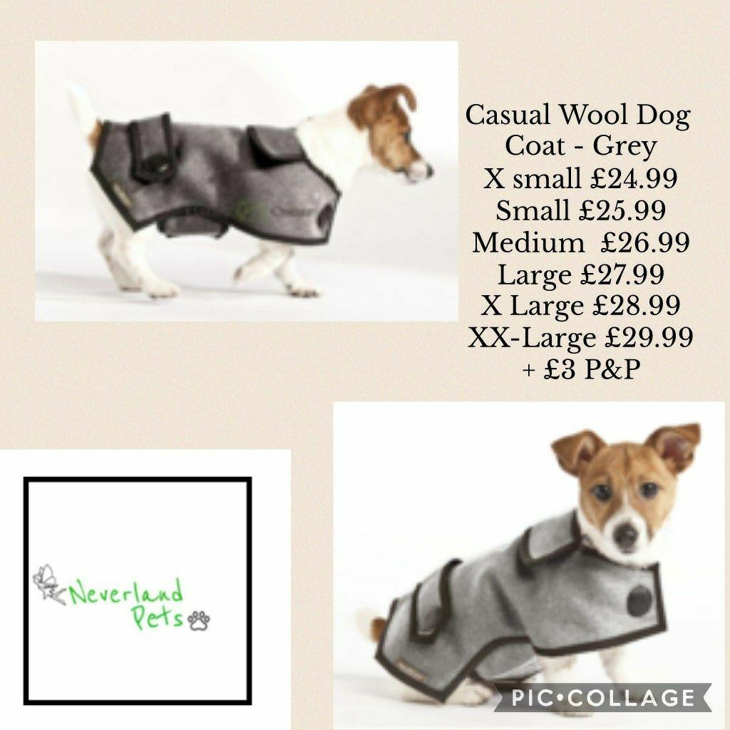 Casual Wool Dog Coat - Grey