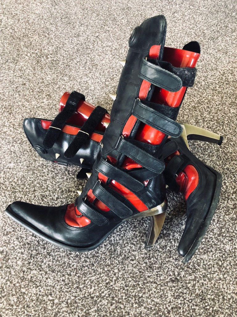Black/ Red New Rock boots UK 6