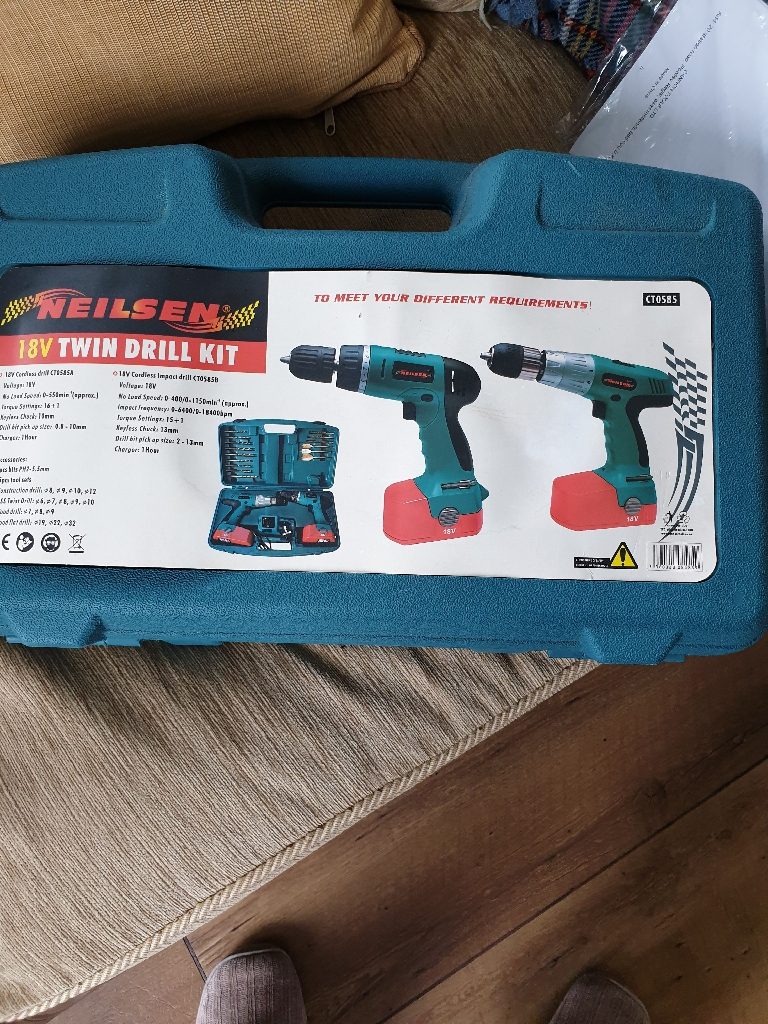 Neilsen 18v twin drill set