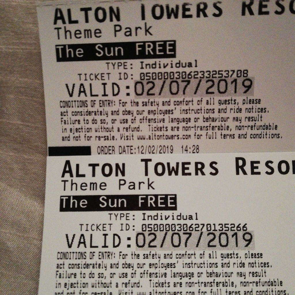 2 alton towers tickets for sale