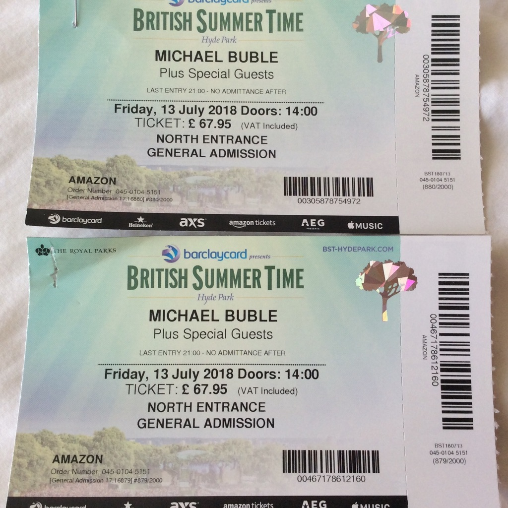 Micheal Buble Hyde Park Tickets