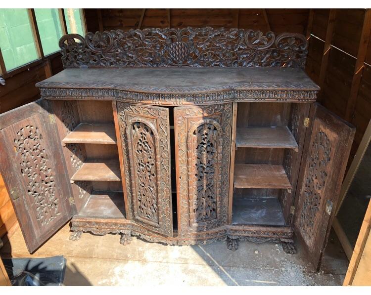 Antique Indian carved sideboard