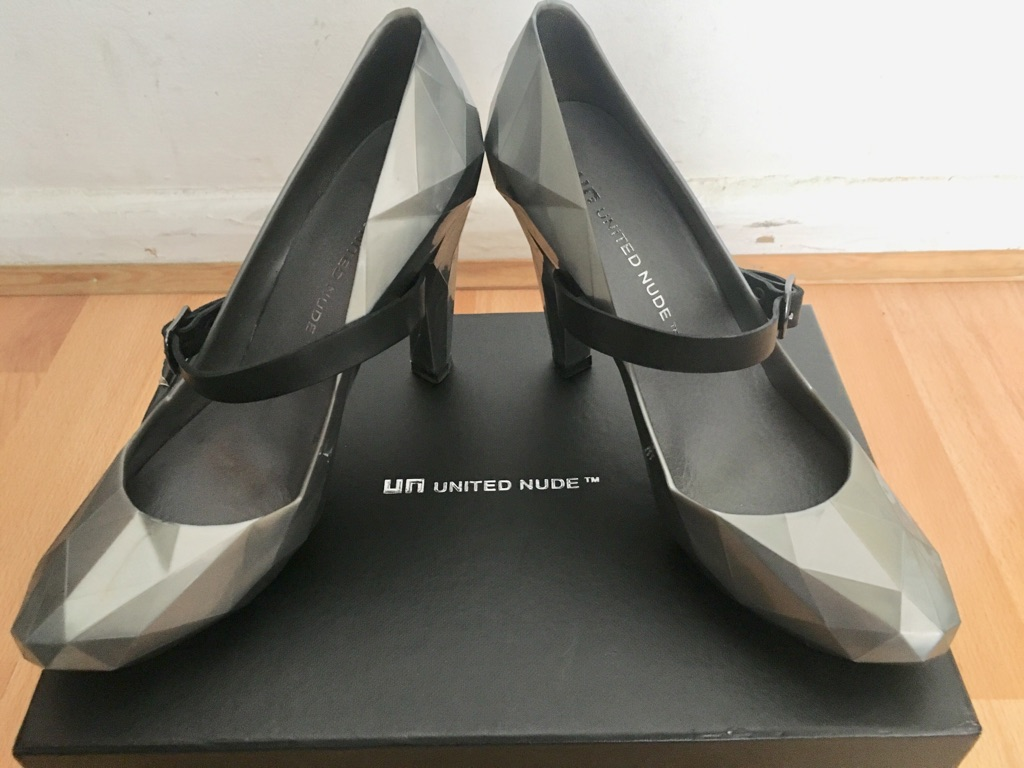 United Nude UK 3/36 Lo Res Pump Hi Heel Shoe Silver