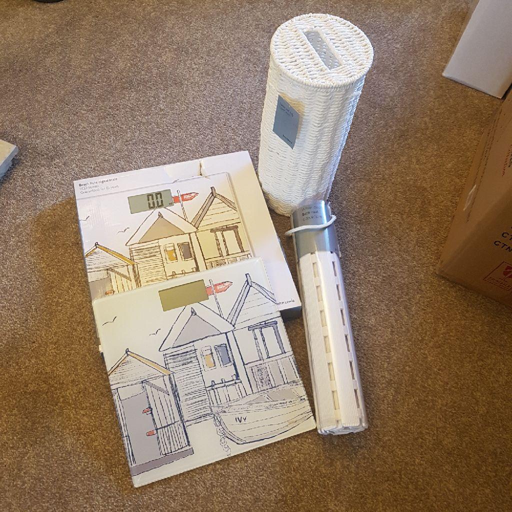 Brand John Lewis set : Scales, bath mat & toilet roll tidy