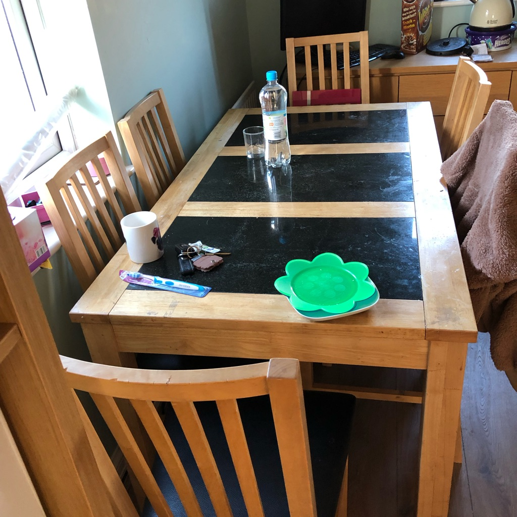 Granite table & 6 chairs