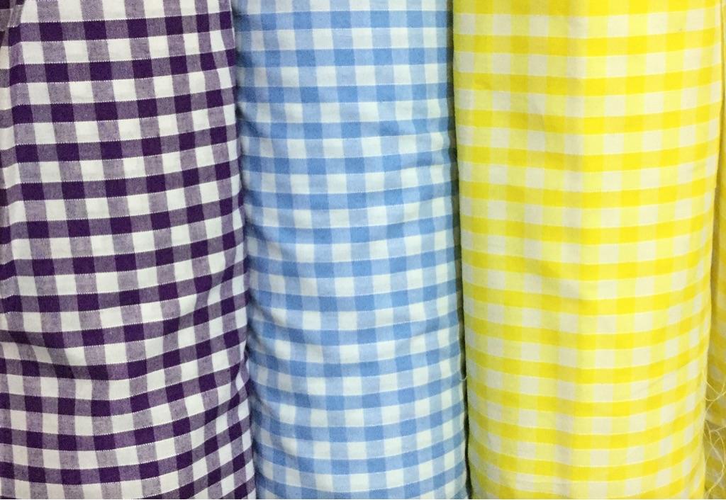 Gingham fabric. Yellow,purple,sky blue £2.40 per meter