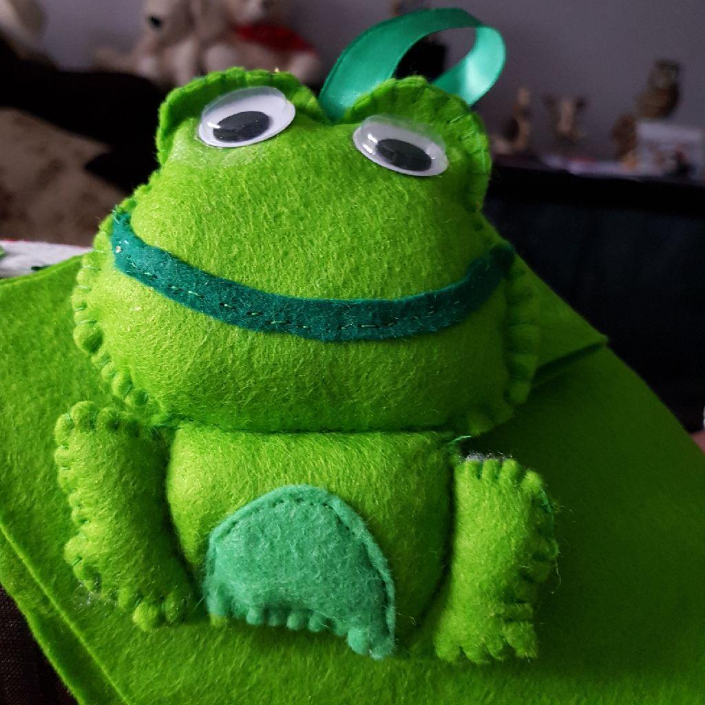 Hand made felt frog