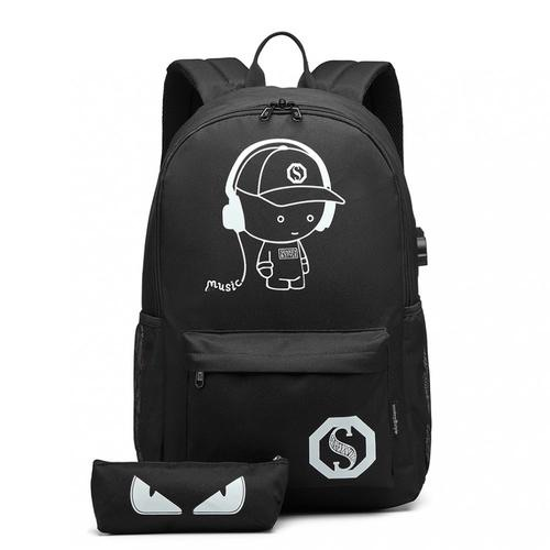 Kono glow in the dark USB charging backpack with pencil case