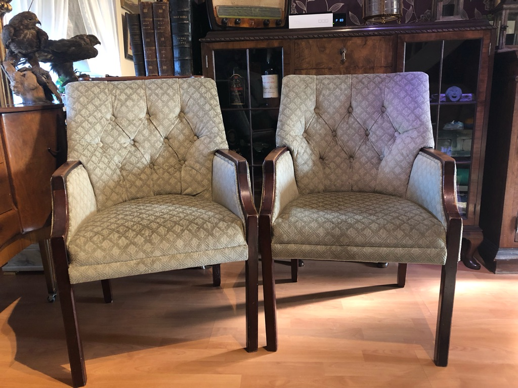Pair original mid century cocktail chairs