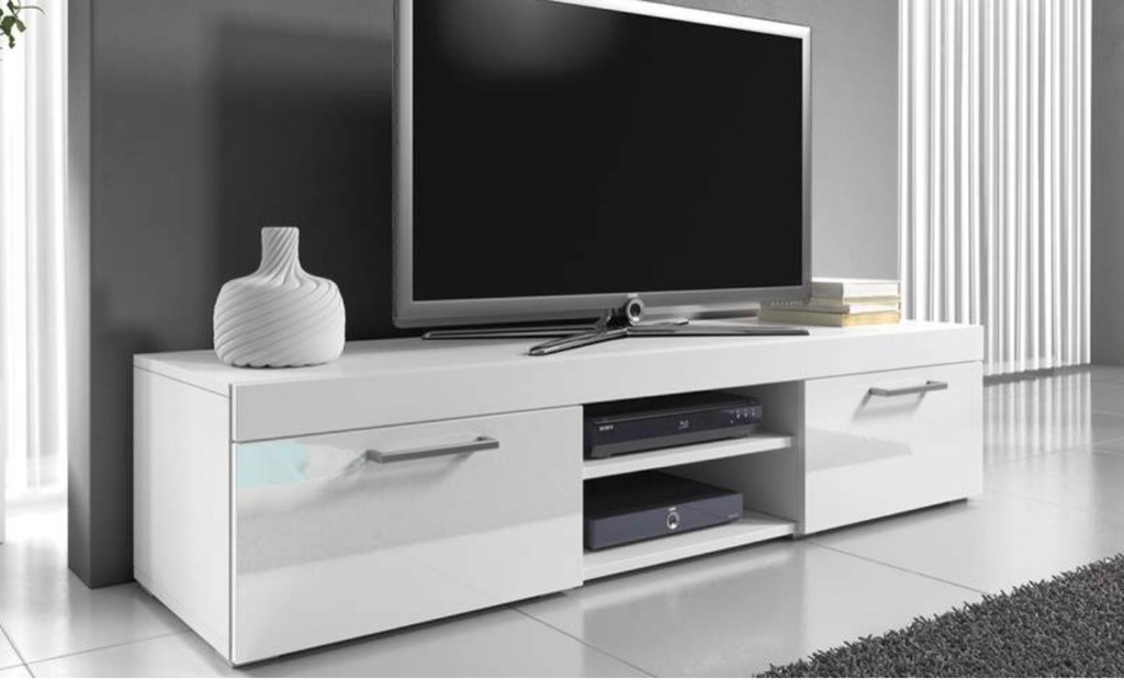White gloss tv cabinet/stand
