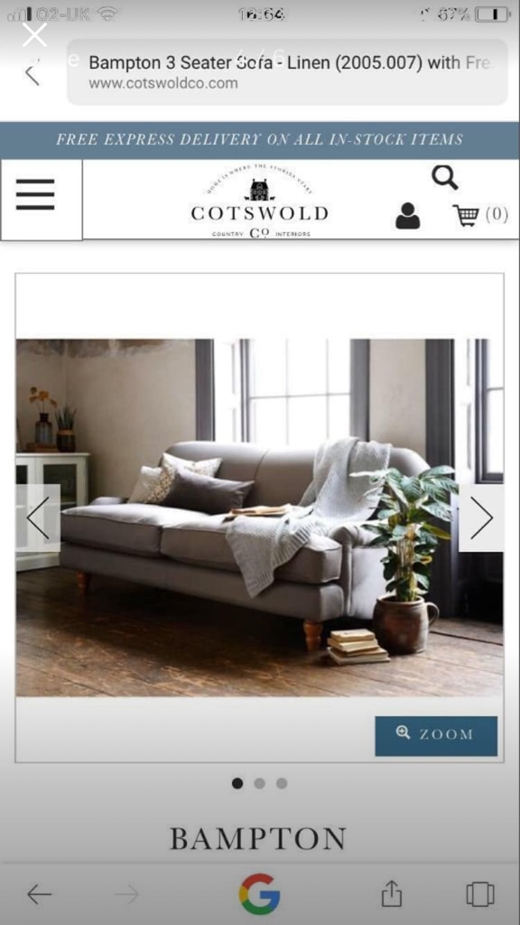 COTSWOLD COMPANY Grey Bampton three seater sofa. £700 ONO.  Bespoke linen material and wooden feet.