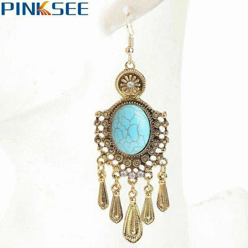 Goldtone w/Turquoise Boho Earrings