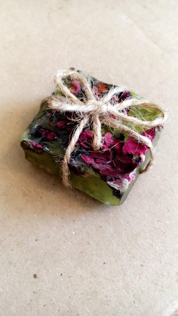 Handmade homemade natural lime and rose petal soap lavender black seed oat vegan halal preservative-free cruelty free