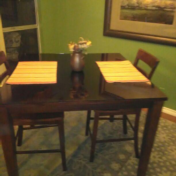 Dark Wood Glass Top Bar Height Dining Set