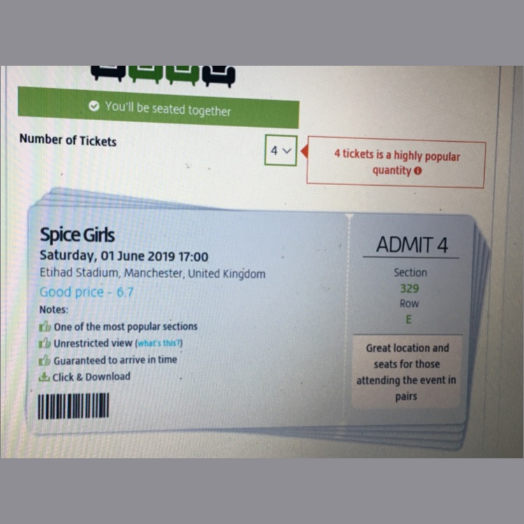 Spice girl tickets