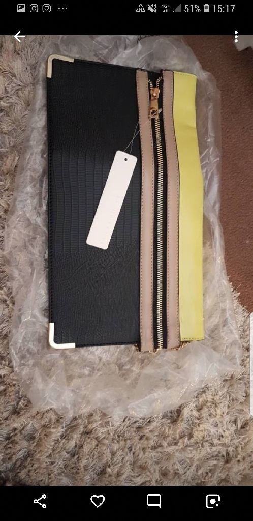 BNWT DEBENHAMS BLACK AND LIME CLUTCH